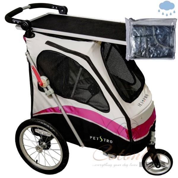 PETSTRO Stroller JETPRO 706GX-WP Tisch / Regenschutz Pink Grau