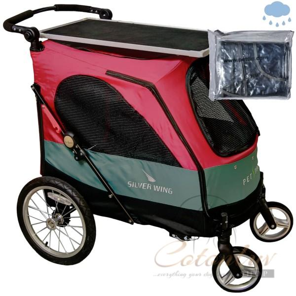 PETSTRO Stroller SILVER WING 705GX-DR Table / Rain Cover Dark Red