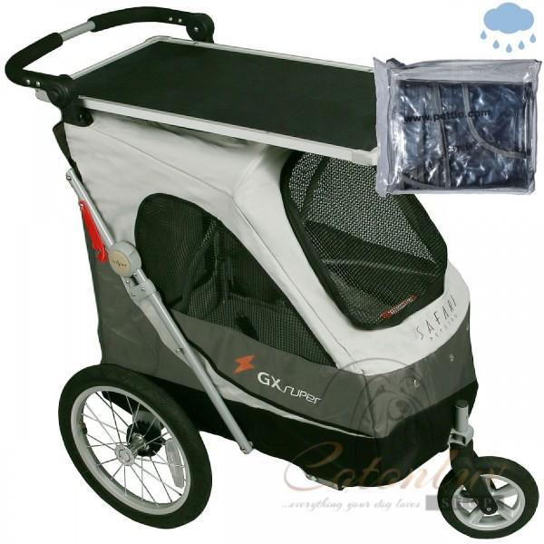 PETSTRO Stroller SAFARI 702GX-SG Tisch / Regenschutz Smokey Grau