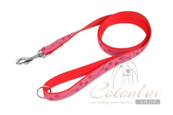 O´lala Pets Lead PAWS 20 mm x 150 cm pink