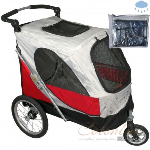PETSTRO Stroller SKYLINE & Regenschutz 701GX - Rot Grau